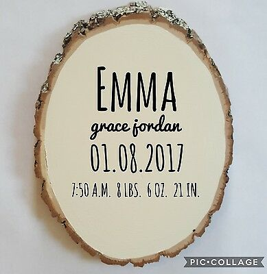 Wood Slice Sign Personalized Baby Shower Gift Stats Woodland Nursery Decor