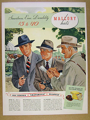 1942 Mallory Hats men at horse track fashion illustration art vintage print Ad