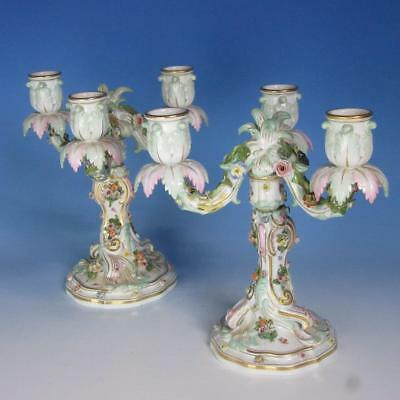 Meissen Crossed Swords - Flower Decorated - Pair Three Arm Two Part Candlesticks