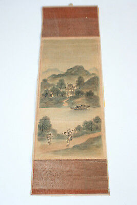 Antique Oriental Chinese Ink & Watercolour Painting on Small Silk Piece #2