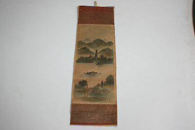 Antique Oriental Chinese Ink & Watercolour Painting on Small Silk Piece #1