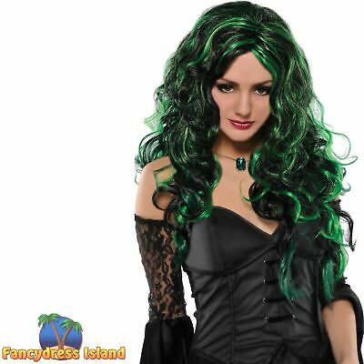 Black & Green Witch Wig Long Curly Halloween Adult Womens Fancy Dress Costume