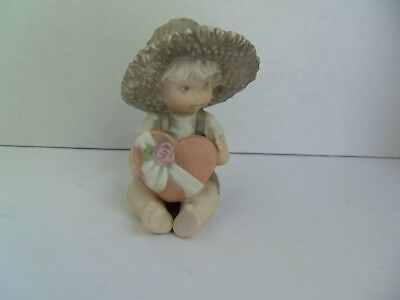 Kim Anderson Figurines By Enesco, Bahner,1996, BOY WITH HEART BOX, #201685