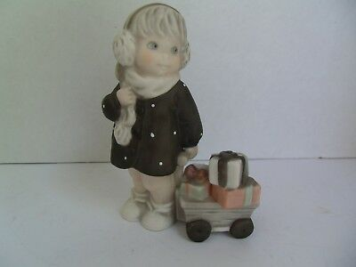 Kim Anderson, Enesco Figurines 1996,GIRL WITH WAGON OF GIFTS #184721