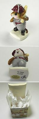 Wee Forest Folk 1989 Baseball Mouse Grey Uniform Red by Annette Petersen, MS-15