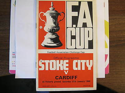 Stoke v Cardiff FA Cup 1968 Programme. (D)