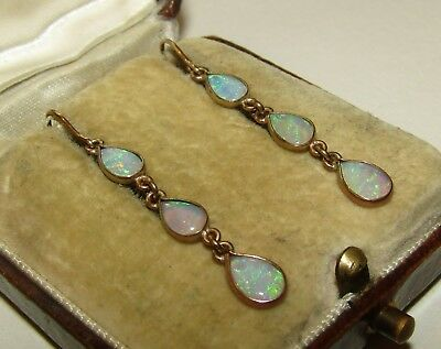 Magical, Antique, 9 Ct Gold Earrings With Rainbow Fire Opal Gems