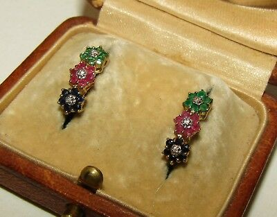 Stunning, Art Deco, 9 Ct Gold Earrings With Emerald, Ruby, Sapphire & Diamonds