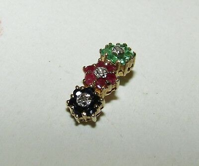 Superb, Art Deco, 9 Ct Gold Pendant With Emerald, Ruby, Sapphire And Diamonds