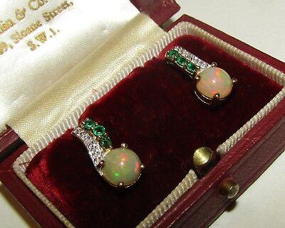Exceptional, Art Deco, 10 Ct Gold Earrings With Fire Opal, Emerald And Diamonds
