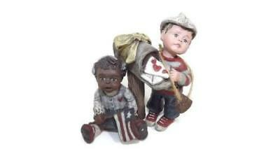 Sarahs Attic African American Girl Caucasion Boy W/HEARTS LOVE Letters & Mailbox
