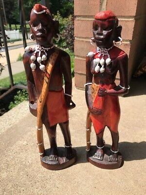 African Maasai Tribal Carved Wood Sculpture Statue Figures Pair Man/Woman Beads
