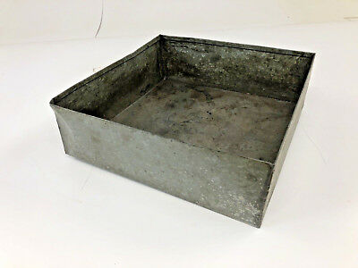 Vintage GALVANIZED PAN Metal Country Storage Bin Box Planter Primitive Old  Decor