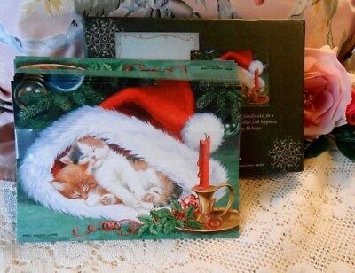 Vintage BOX of CROWN Point GRAPHICS CAT CHRISTMAS CARDS by PERSIS CLAYTON WEIRS