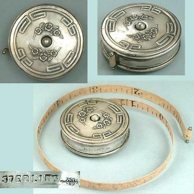 Antique American Sterling Silver Tape Measure by Webster Co. * Circa 1900