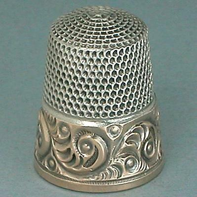 Antique Gold Band Sterling Silver Thimble * Circa 1890s