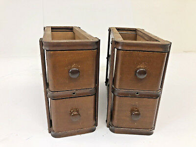 Vintage WOOD SEWING MACHINE DRAWERS w Brackets wooden antique singer cabinet set