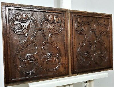 PAIR GRIFFIN SCROLL LEAF PANEL Antique french hand carved wood salvaged carving