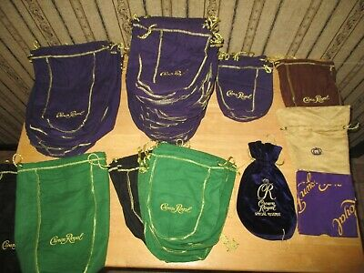 Lot of 45 CROWN ROYAL / CR bags - 2 velvet ones / DIFFERENT SIZES