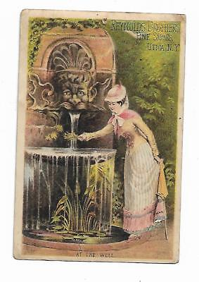 Old Trade Card Reynolds Brothers Fine Shoes Sautter Utica NY Woman Fountain