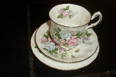 Vintage PARAGON Bone China Trio -Cup Saucer & Plate -'Flower Festival'