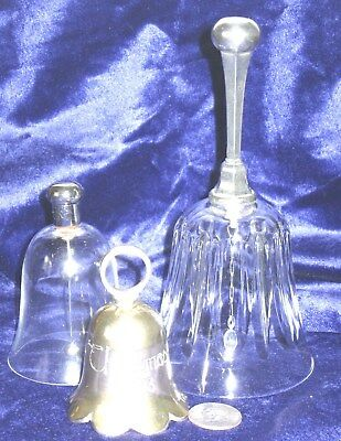 Vtg lot 3 BELLS 2 CRYSTAL w SILVERPLATE HANDLE 1 Christmas 1993 Intnl Silver Co