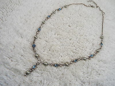 Silvertone Blue Rhinestone Drop Necklace (D2)