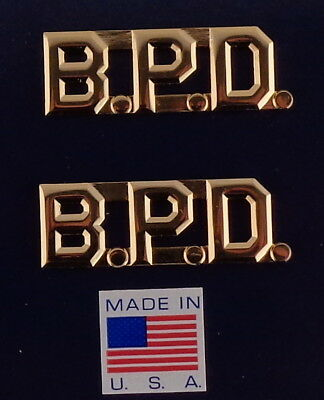 "B.P.D. polished gold 1/2"" Letters Collar Pins Insignia police BPD Made in USA!"