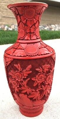 """20th C. Chinese Carved Cinnabar Lacquer Vase Floral w/ Check Background 9"""" Tall"""