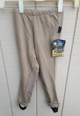 NWT TROPICAL RIDER TROPIX KIDZ SM Deerskin Knee Patch Riding Jods Pants Beige
