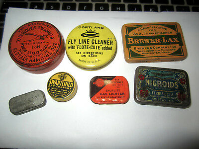 Vintage Lot Of 7 Different Collectible Tins Swartchild, Nigroids, B. Lawrence, E
