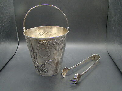 Chinese 1920's nice carved big silver jar and clamp for ice (H C He Xing) r9645