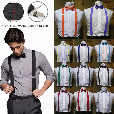 Men's Clip-on Suspenders X Back and Bow Tie Retro Steampunk Costume Tux Prom US