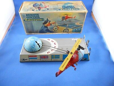"""ANTIQUE /COLLECTABLE """"Remote Control"""" HELICOPTER TIN TOY"""