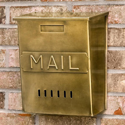 "Signature Hardware Vertical ""MAIL"" Wall Mount Brass Mailbox in Antique Brass"