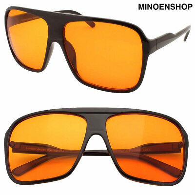 Black Orange Lens Square Large Flat Top Retro Pilot Sunglasses 80s VTG