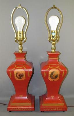 Vintage Pr Red Tole Table Lamps French Figural Cameo Swan  Painted Ribbon Swag