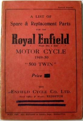 ROYAL ENFIELD 500 Twin 1949-50 Original Owners Motorcycle Parts List
