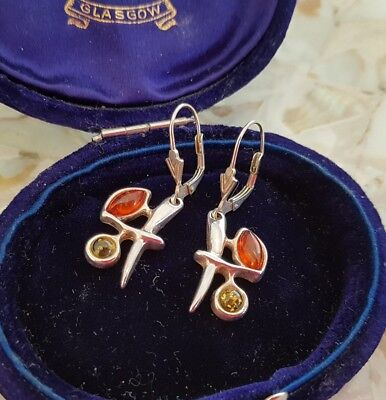 Signed Green & Cognac Amber Sterling Silver 925 Earrings * Abstract Butterflies