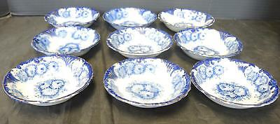 Antique Upper Hanley Flow Blue Berry Bowls With Gold * Mums
