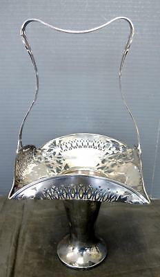 Antique Victorian Era Silver Plate Handled Flower Basket Made In Canada