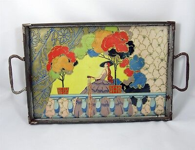 Art Deco Metal Beverage Tray with Foiled Paper Art Under Glass Vintage 1920s
