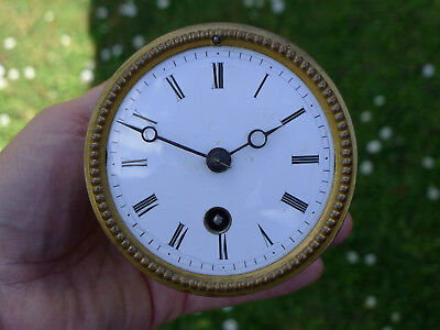 a) French 8day bracket/marble/mantel clock movement enamel dial for spares/parts