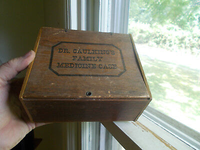DR.CAULKING'S FAMILY MEDICINE CASE 1890s WOOD ADVERTISING BOX WITH LABEL
