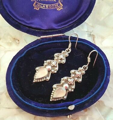 Vintage Solid Sterling Silver 925 Moonstone Earrings * Artisan Antique Finish *