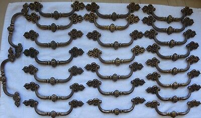 Lot 24 Vintage Brass Finish Pulls Handles Dresser Drawer French Country 7 3/4""