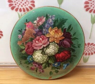 Vintage Stratton Signed Powder Compact Mirror Gorgeous Enamel Painted Flowers