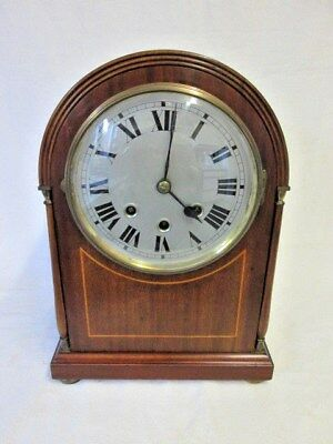 A German Solid Mahogany Inlaid Westminster Quarter Chime Mantel Clock