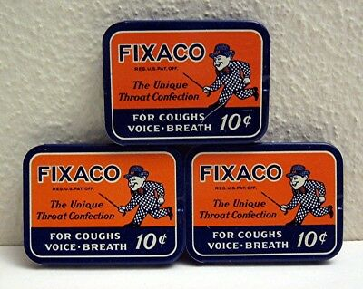 3 Old 1939 Fixaco Medicine Slide Top Tins St Louis Mo Unused Old Warehouse Stock