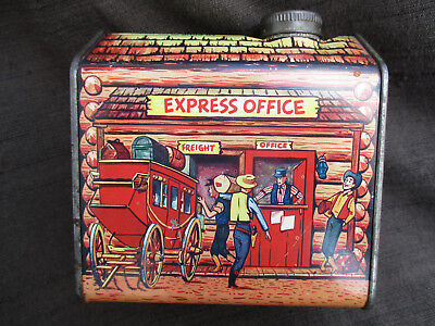 Vintage Towles Log Cabin Syrup Express Office Western Frontier Town Tin Can Ex.